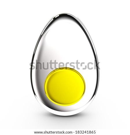 Half of stylized egg, 3d icon - stock photo