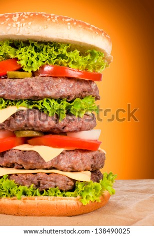 Half of the big beef burger and vegetables