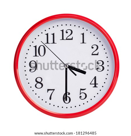 Half of the fourth on a red round clock face