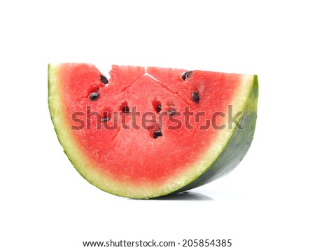 half of watermelon isolated on white