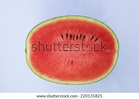 Half of watermelon on white background