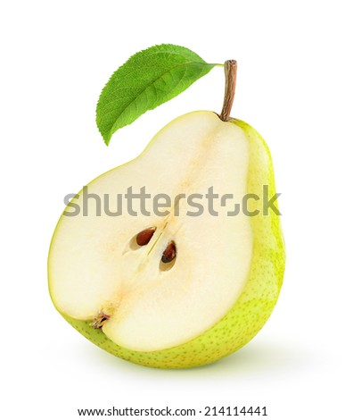Half of yellow pear with leaf over white background, with clipping path - stock photo