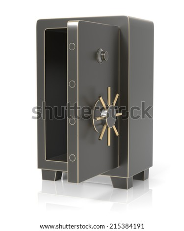 Half open steel safe isolated on white. High resolution 3D rendering - stock photo