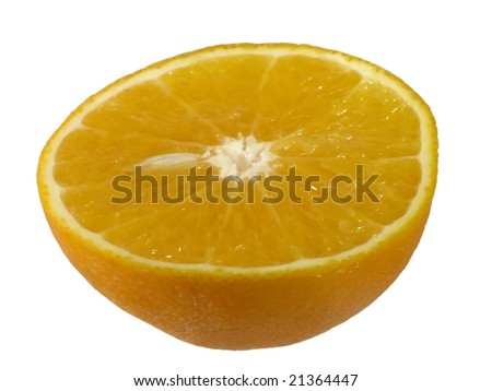 half orange fruit cross section cut