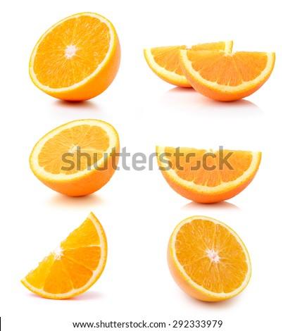 Half orange fruit on white background - stock photo