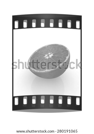 half oranges on a white background. The film strip - stock photo