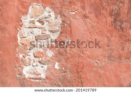half painted old brick wall background - stock photo