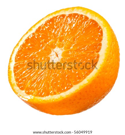 Half part of juicy Orange isolated on white - stock photo
