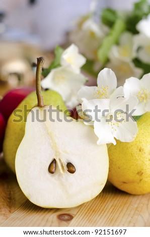 half pear - stock photo