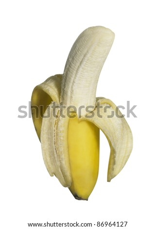 half peeled fresh banana isolated on white, with clipping path - stock photo