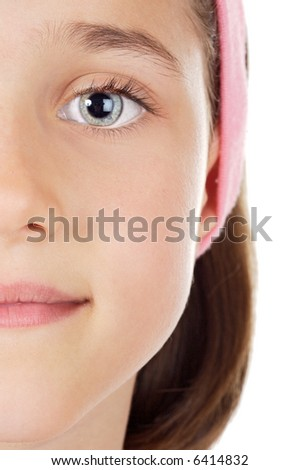 Half portrait of a cute young girl - stock photo