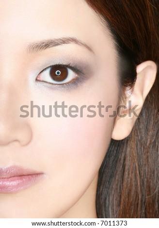 half portrait of asian woman - stock photo