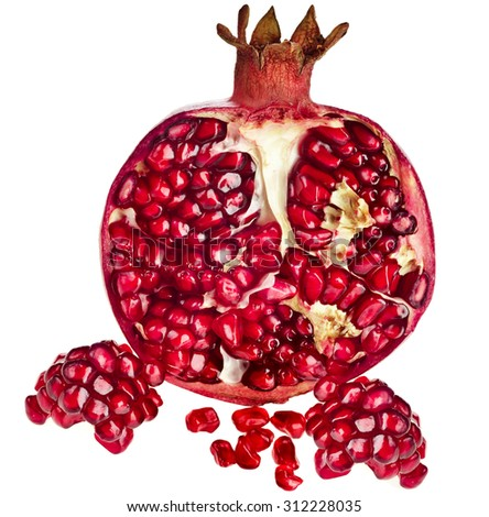 Half ripe pomegranate fruit isolated on white background cutout - stock photo