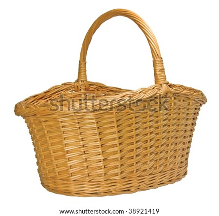 Half-Split Splint Willow Wicker Basket, Isolated - stock photo