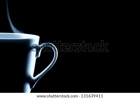half steaming coffee cup contour on black - stock photo