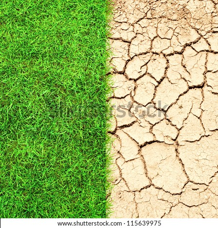 Half the frame is lush green grass and the other half is cracked dry desert sand - stock photo