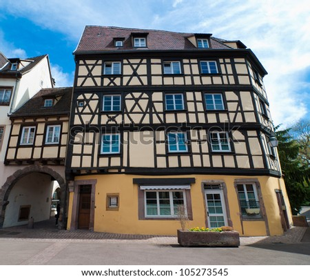 Half-timbered house in Colmar old town, Alsace, France - stock photo