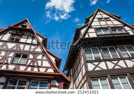 """Half-timbered houses in old and beautiful district """"Petite France"""" in Strasbourg. Alsace, France - stock photo"""