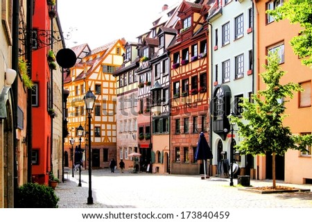 Half-timbered houses of the Old Town, Nuremberg, Germany - stock photo