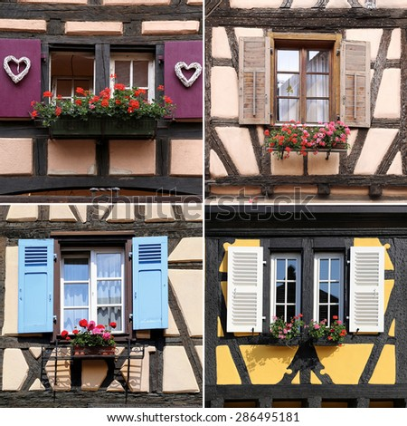 Half-timbered houses: windows, collage