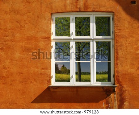 half timbered traditional house   in denmark a sunny summer day