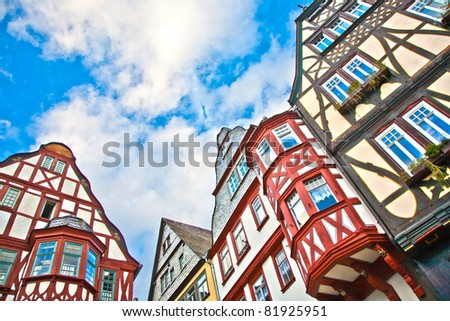 half timberred old houses in Limburg - stock photo
