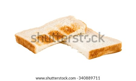 Half toasted and half sandwich bread on isolated white background