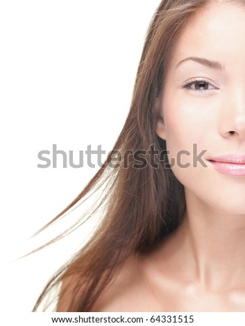 Half woman face with copy-space on side. Beautiful asian caucasian woman portrait on white background. Skincare beauty treatment concept.