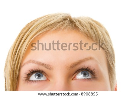 half woman face with eyes over white background - stock photo