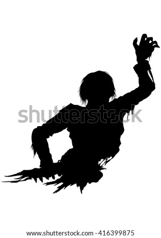 Half zombie men silhouette. Illustration half part of the rotten zombie's body. He stretches his hand forward  - stock photo