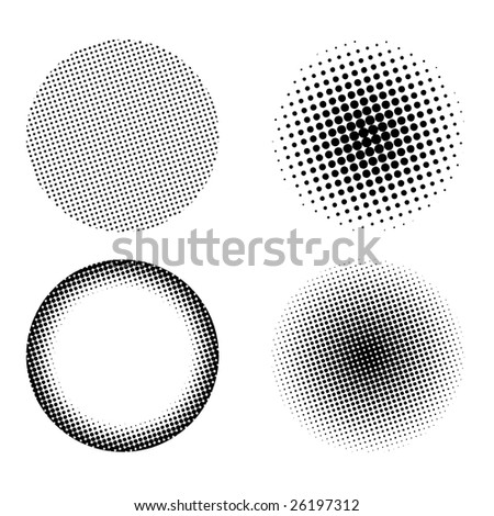 Halftone design elements set isolated on a white background - stock photo