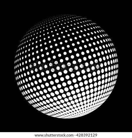 Halftone logo template. White round icon on black background, abstract globe symbol, business concept. Abstract white dotted sphere. Science and tourism, technology or financial background