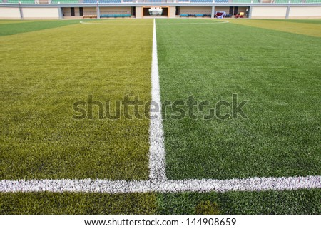 Halfway line of a football field