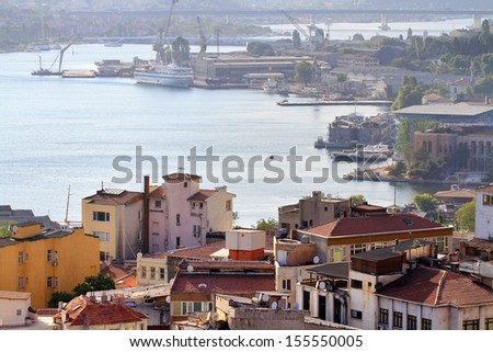 Halic shipyard area. Historic dockyard along Goldenhorn used to renovation of ships owned by city lines. It founded in 1861 by Ottoman Maritime Company and used to repair and maintain the empire ships - stock photo