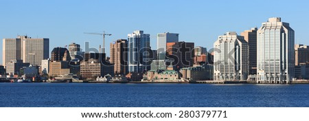 HALIFAX, CANADA - MAY 21, 2015: Downtown Halifax skyline on a sunny day. Halifax is the capital of the province of Nova Scotia, Canada. Halifax - stock photo
