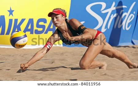 HALIFAX, CANADA - SEPTEMBER 2: Nina Betschart of Switzerland at the FIVB Beach Volleyball Swatch Junior World Championships on Sept. 2, 2011 in Halifax, Canada. - stock photo