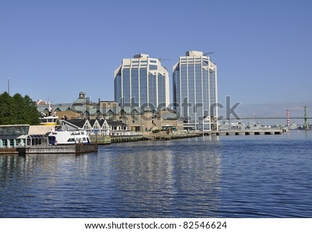 Halifax Harbour, Ferry Terminal with city skyline in the background - stock photo