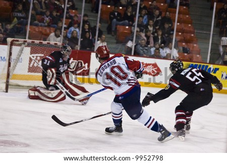Halifax Mooseheads vs. Moncton Wildcats in QJMHL action, March 1, 2008 (Mooseheads won 4-3 in overtime) - stock photo