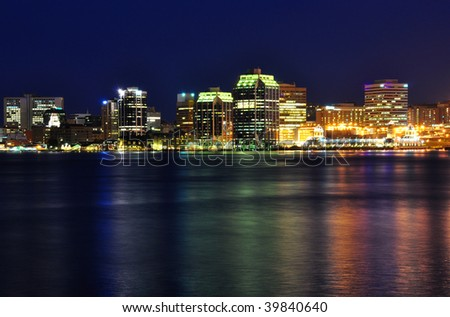 Halifax Nova Scotia at night. Taken from across the harbor in Dartmouth - stock photo