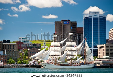 HALIFAX, NOVA SCOTIA - JULY 20: Europa from the Netherlands takes part in the Parade of Sail during the Tall Ships Nova Scotia festival, July 20, 2009 in Halifax.