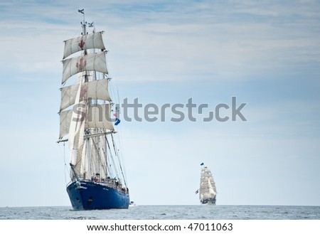 HALIFAX, NOVA SCOTIA - JULY 16: International ships gather for Tall Ships Nova Scotia 2009 on July 16, 2009 in Halifax, Nova Scotia. Pictured here is Concordia, lost at sea - stock photo