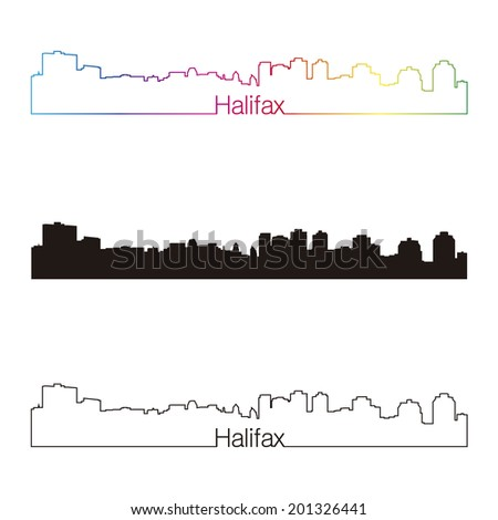 Halifax skyline linear style with rainbow