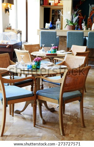 HALKIDIKI, GREECE - JULY 22, 2013: Cafe interior of the beautiful summer resort, Halkidiki, Greece. Selective focus