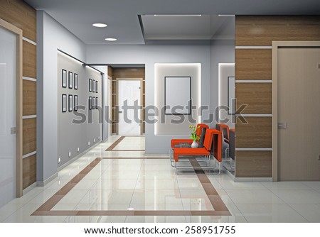 Hall a modern office 3D rendering - stock photo