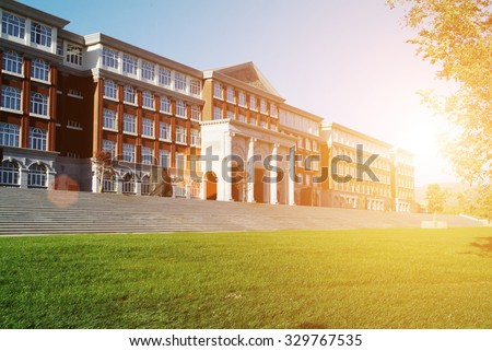 Hall building in college - stock photo