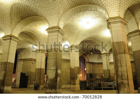 Hall in a New York CIty Subway entrance. - stock photo