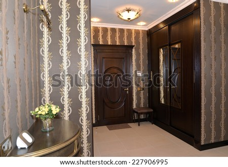 Hall in brown tones, modern classics