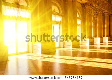 Hall in the museum. Sunlight. Hermitage museum
