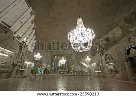 Hall in Wieliczka salt mine. Poland - stock photo