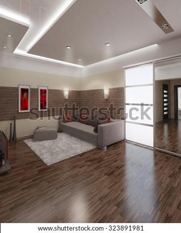 Hall Modern Style Interior Design 3D Render